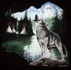 Preview: Motiv Wolf in Landschaft T-Shirt