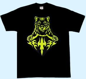 Kinder-Shirt Tiger Tribal neongelb