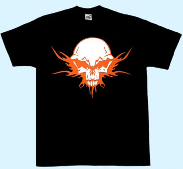 Shirt Totenkopf Tribal orange