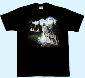 Motiv Wolf in Landschaft T-Shirt